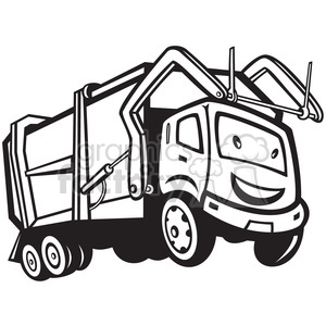 black and white rubbish truck cartoon front clipart. Royalty-free image # 388262