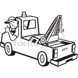 cartoon tow+truck truck worker man guy tow black+white vintage