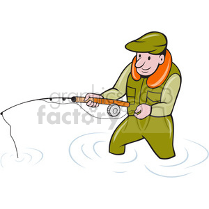 cartoon fishing fisherman fish water nature