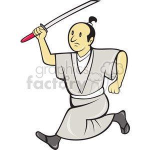 cartoon samuri with sword side clipart. Royalty-free image # 388292