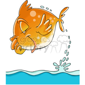 cartoon fish jumping out of water clipart. Royalty-free image # 388322