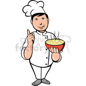 chef carrying hot bowl of soup