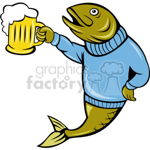 fish holding a beer mug clipart. Royalty-free image # 388372