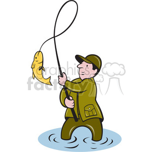 cartoon fish fishing fisherman catch caught