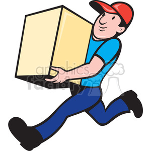 cartoon moving man carrying delivery express postal deliver box move package mail employee running late
