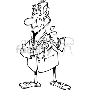 cartoon doctor in black and white