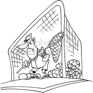 cartoon goal keeper in black and white clipart. Commercial use image # 388490