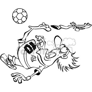soccer player losing his shoe in black and white clipart. Commercial use image # 388500