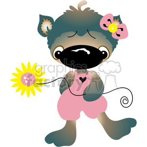 cartoon bear cat big+nose funny flowers