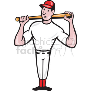 baseball player with bat on shoulders clipart. Commercial use image # 388630