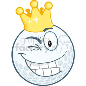 5711 Royalty Free Clip Art Happy Golf Ball Cartoon Character With Gold Crown Winking clipart. Royalty-free image # 388670