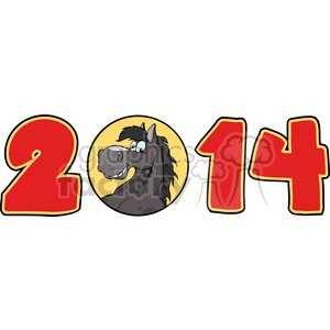 5671 Royalty Free Clip Art 2014 Year Cartoon Numbers With Horse Face Over A Circle clipart. Royalty-free image # 388690