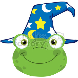 5652 Royalty Free Clip Art Cute Frog Smiling Head With Wizard Hat clipart. Royalty-free image # 388730
