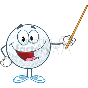 5749 Royalty Free Clip Art Smiling Golf Ball Holding A Pointer clipart. Royalty-free image # 388742