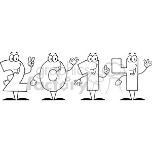 5663 Royalty Free Clip Art 2014 New Year Numbers Cartoon Characters clipart. Commercial use image # 388762