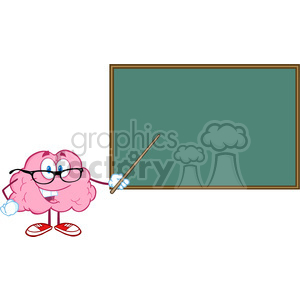 5813 Royalty Free Clip Art Smiling Brain Teacher Character With A Pointer In Front Of Chalkboard clipart. Royalty-free image # 388772