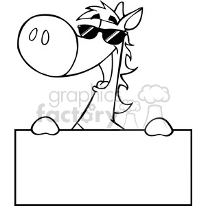 cartoon funny horse sign holding banner blank