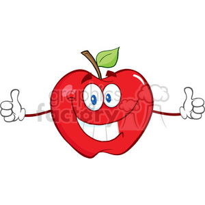 5795 Royalty Free Clip Art Happy Red Apple Cartoon Character Giving A Thumb Up clipart. Royalty-free image # 388841