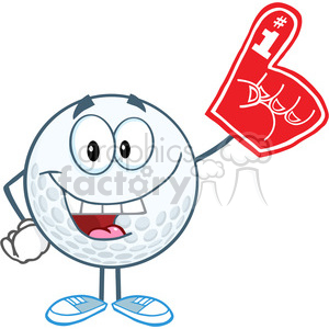 5746 Royalty Free Clip Art Smiling Golf Ball With Foam Finger clipart. Commercial use image # 388850