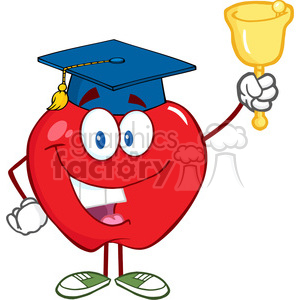 5790 Royalty Free Clip Art Smiling Apple Character Ringing A Bell For Back To School clipart. Royalty-free image # 388872