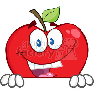 5779 Royalty Free Clip Art Smiling Red Apple Hiding Behind A Sign clipart. Commercial use image # 388882