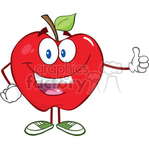 5764 Royalty Free Clip Art Smiling Apple Cartoon Mascot Character Holding A Thumb Up clipart. Royalty-free image # 388892