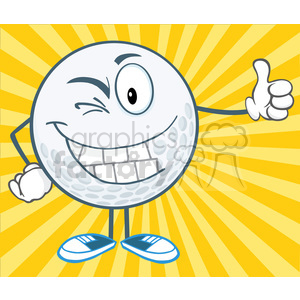 5728 Royalty Free Clip Art Winking Golf Ball Cartoon Character Holding A Thumb Up clipart. Royalty-free image # 388902