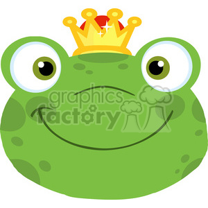 5650 Royalty Free Clip Art Cute Frog Smiling Head With Crown clipart. Royalty-free image # 388912