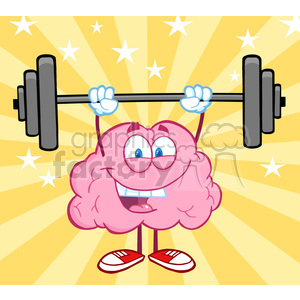 5820 Royalty Free Clip Art Happy Brain Character Lifting Weights clipart. Royalty-free image # 388922