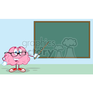 5815 Royalty Free Clip Art Smiling Brain Teacher Character With A Pointer In Front Of Chalkboard clipart. Royalty-free image # 388962