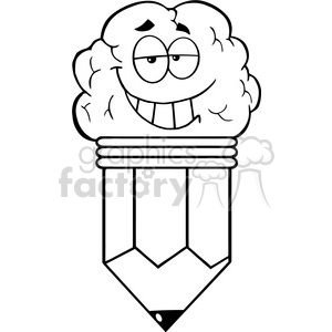 5921 Royalty Free Clip Art Clever Pencil Cartoon Character clipart. Royalty-free image # 388992