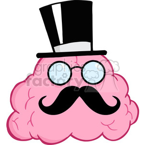 5862 Royalty Free Clip Art Brain Gentleman Character