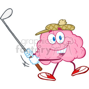 5842 Royalty Free Clip Art Smiling Brain Cartoon Character Swinging A Golf Club clipart. Royalty-free image # 389052