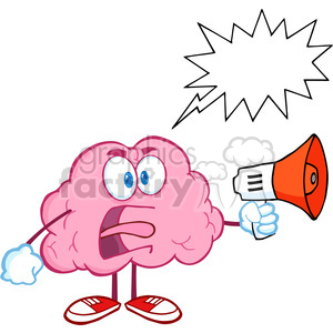 5849 Royalty Free Clip Art Angry Brain Cartoon Character Screaming Into Megaphone With Speech Bubble clipart. Royalty-free image # 389072
