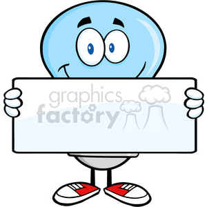 6024 Royalty Free Clip Art Blue Light Bulb Cartoon Mascot Character Holding A Banner clipart. Royalty-free image # 389082