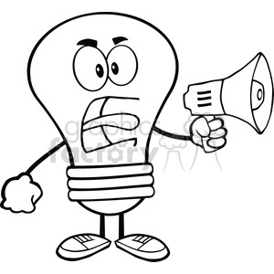 6069 Royalty Free Clip Art Angry Light Bulb Cartoon Character Screaming Into Megaphone clipart. Commercial use image # 389092