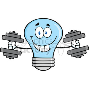 6111 Royalty Free Clip Art Smiling Blue Light Bulb Cartoon Character Training With Dumbbells clipart. Commercial use image # 389102