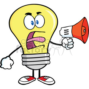 6070 Royalty Free Clip Art Angry Light Bulb Cartoon Character Screaming Into Megaphone clipart. Commercial use image # 389112