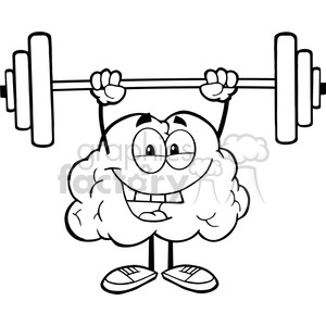 5976 Royalty Free Clip Art Happy Brain Character Lifting Weights clipart. Commercial use image # 389132