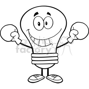 6045 Royalty Free Clip Art Smiling Light Bulb Cartoon Character Wearing Boxing Gloves clipart. Royalty-free image # 389142