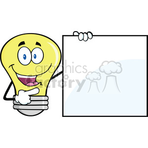 6106 Royalty Free Clip Art Happy Light Bulb Cartoon Mascot Character Showing A Blank Sign clipart. Commercial use image # 389152