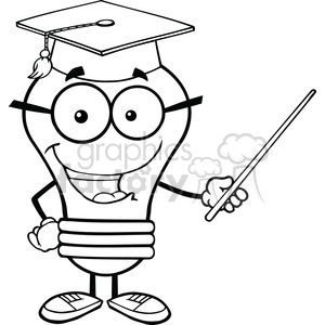 6081 Royalty Free Clip Art Smiling Light Bulb Teacher Character With A Pointer