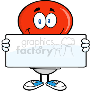 6025 Royalty Free Clip Art Red Light Bulb Cartoon Mascot Character Holding A Banner clipart. Royalty-free image # 389182