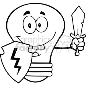 6116 Royalty Free Clip Art Light Bulb Guarder With Shield And Sword clipart. Commercial use image # 389192