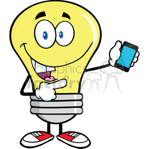 6091 Royalty Free Clip Art Light Bulb Character Holding A Mobile Phone clipart. Royalty-free image # 389202