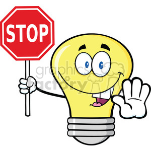 6142 Royalty Free Clip Art Light Bulb Cartoon Character Holding A Stop Sign