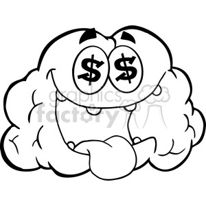 5983 Royalty Free Clip Art Money Loving Brain Cartoon Character clipart. Royalty-free image # 389222