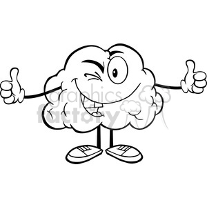 5978 Royalty Free Clip Art Winking Brain Character Giving A Thumb Up clipart. Royalty-free image # 389242