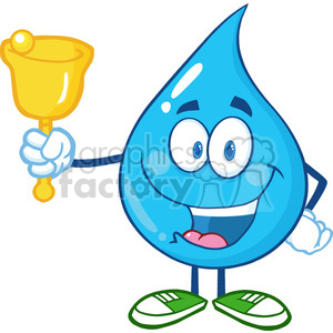 6234 Royalty Free Clip Art Water Drop Character Waving A Bell For Donation clipart. Royalty-free image # 389262