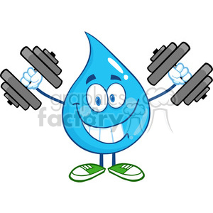 6218 Royalty Free Clip Art Smiling Water Drop Cartoon Mascot Character Training With Dumbbells clipart. Royalty-free image # 389282